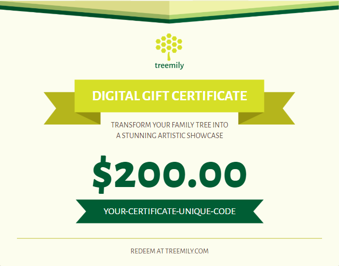 family tree gift certificate