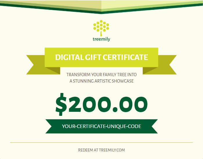 family tree gift certificate